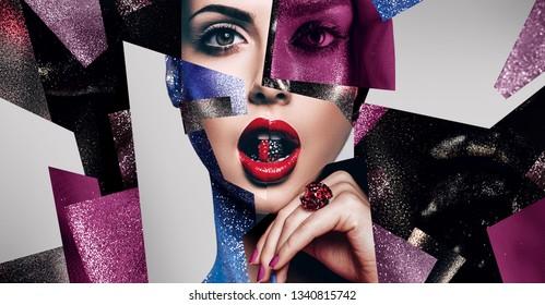 Kosmetik, Make-up, Idee. Zusammensetzung von Frauenporträts mit Körperkunst, Perlen in Mund und Ring