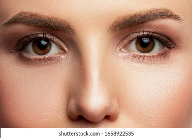 Cosmetics and makeup. Beautiful female eye with sexy black liner make-up. Fashion big arrow forever woman. Great evening makeup, clean makeup and brown eyes. Thick eyebrows and extra long eyelashes