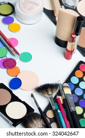 Cosmetics make-up on the table