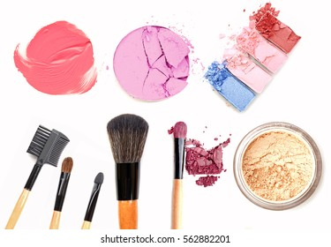 cosmetics and makeup. Tools for Professional make a top view. On a white background