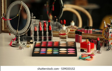 Cosmetics on dressing table, closeup