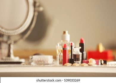 Cosmetics on dressing table, closeup