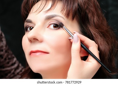 Cosmetics on the face of a woman