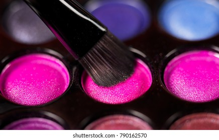 Cosmetics, paints for make-up with brushes.