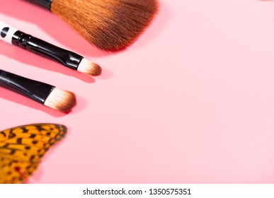 Cosmetics and Pink Background
