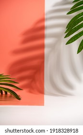 Cosmetics product advertising stand. White and pink background with with palm leaves and shadows. Empty place to display product packaging. Mockup