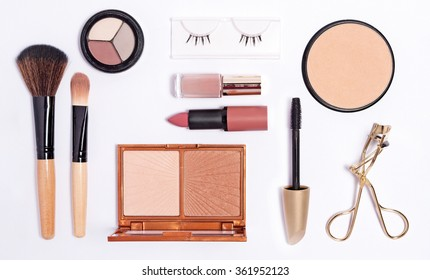 Cosmetics set on white background
