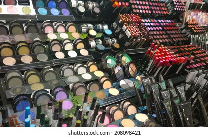 Cosmetics shop with great variety of products. Concept of consumerism, retail and purchase