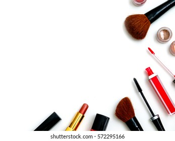 cosmetics top view on a white table. Workplace women cosmetic bag