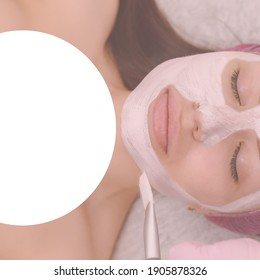 Cosmetologist applaying peeling mask on female face in beauty salon, with field for ad text