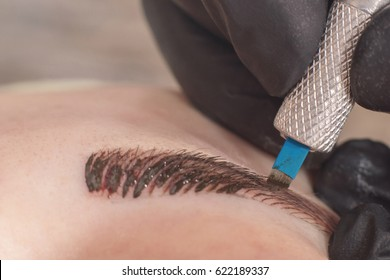 Cosmetologist applying permanent make up on eyebrows. Permanent tattooing of eyebrows.