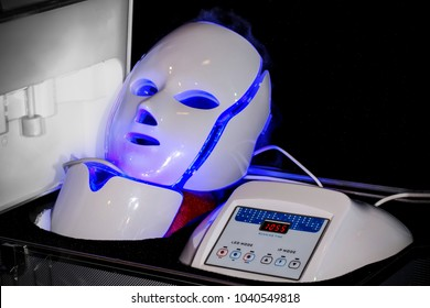 cosmetology led masks in a suitcase, light rejuvenating mask for facial skin therapy
