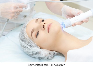 Cosmetology light equipment. Anti age and wrinkle. Microcurrent medicine treatment. Beauty woman. Sincare clinic. aesthetic peeling.