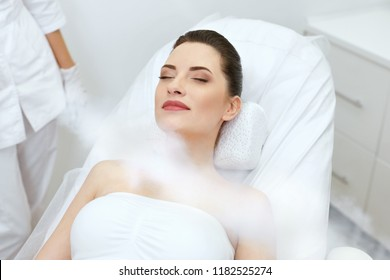Cosmetology. Woman At Facial Oxygen Cryotherapy At Beauty Centre