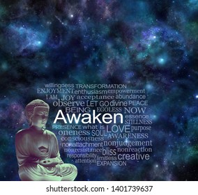 Cosmic Buddha Mindfulness Awaken Meditation Concept - Lotus position Buddha beside a word cloud AWAKEN against a dark night deep space sky background