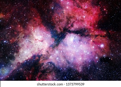 Cosmic landscape, colorful science fiction wallpaper with endless outer space. Elements of this image furnished by NASA