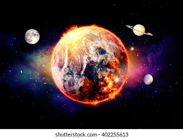 cosmic landscape, global warming over color - Elements of this image furnished by NASA