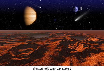 Cosmic landscape, view from Mars, Elements of this image furnished by NASA