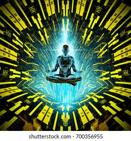 Cosmic meditation concept / 3D illustration of artificial male figure meditating in tech environment