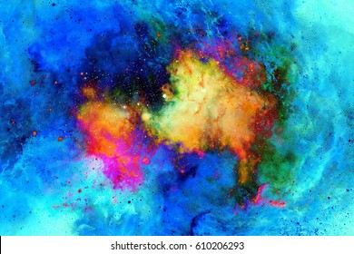 Cosmic space and stars, color cosmic abstract background. Fire effect in space.