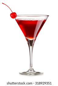 Cosmopolitan cocktail with cherry isolated on white background