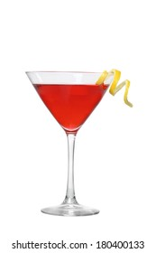 Cosmopolitan cocktail with lemon twist cutout, isolated on white background