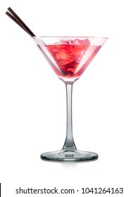 Cosmopolitan cocktail in martini glass with tube isolated on white background with clipping path