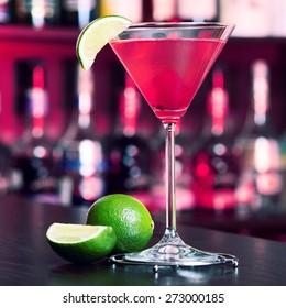 Cosmopolitan cocktail on a bar counter