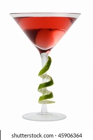 Cosmopolitan mixed drink with lime twist on a white background