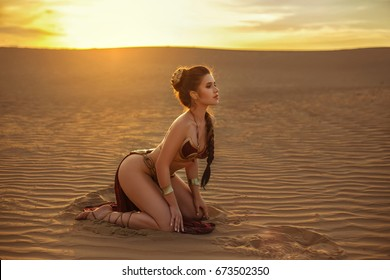 Cosplay, A beautiful, sexy girl walks in the desert. Creative colors