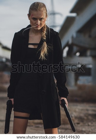 Congratulate, Cosplay girl with gun think
