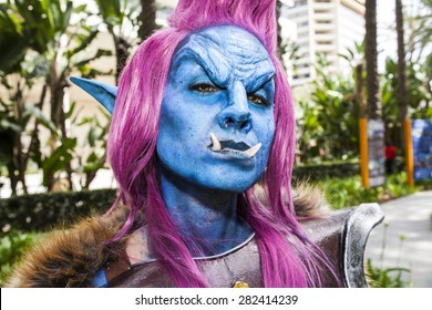 Cosplayer Jessica LG dressed as a troll character from the video game World of Warcraft at WonderCon in Anaheim, California, April 2014.