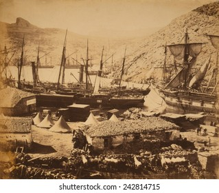 COSSACK BAY, BALAKLAVA, 1855. Photo by Roger Fenton showing equipment and supplies for British forces in Crimean War.