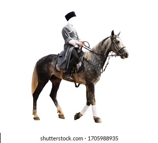 Cossack on horseback, in gray clothes, photoshop template,jockey horse racing isolated on white background