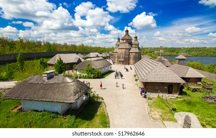 "Cossacks fortress ""Zaporizhian Sich"" on Khortytsya island - one of the most-visited tourist complexes of Zaporozhye, Ukraine."