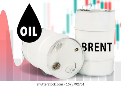 Cost of Brent crude oil. Inscription petroleum. Brent logo on a white barrel. Concept - reduce the cost of oil. Sale of Brent brand oil. The cost of hydrocarbons. Commodity Exchange Trading. Naphtha