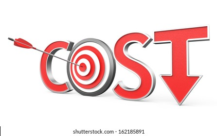Cost down concept with arrow and target sign