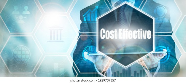 A Cost Effective business word concept on a futuristic blue display.