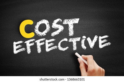 Cost Effective text on blackboard, business concept background