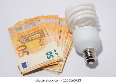 cost of electricity - saving money / euro with the use of energy-saving LED bulbs A - increase in the cost of living