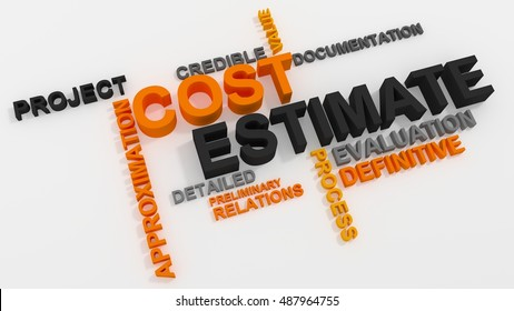 Cost Estimate word cloud over white background