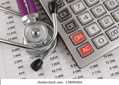 Cost of health care concept, stethoscope and calculator on document