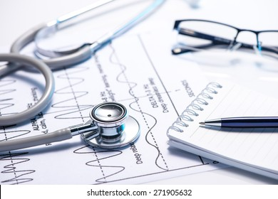 Cost of health care. Filling Medical Form, document, stethoscope