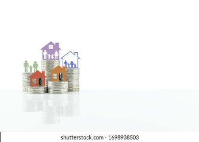 Cost of living, home loan, family finance and child trust fund concept : Parent with children, model house on rows of rising coins, depict human basic needs to protect / secure life. Isolated on white
