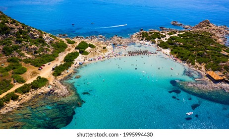 Cost of Sardinia: Peninsula of Punta Molentis. View of beautiful beach at Punta Molentis, Villasimius, Sardinia, Italy. Beautiful bay with sandy beach at Punta Molentis, Sardinia island, Italy.