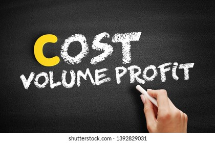 Cost Volume Profit text on blackboard, business concept background