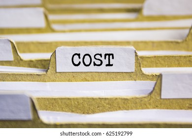 Cost word on card index paper