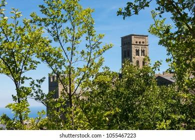 the Costa Brava in Catalonia, Spain: Antique Monastery called Sant Pere de Rodes in the National Park of Cap de Creus, Emporda