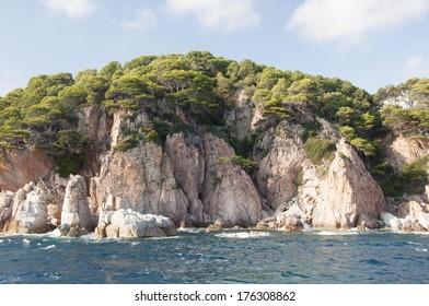 the Costa Brava, coastline between Lloret de Mar and Tossa de Mar, Spain, Catalonia