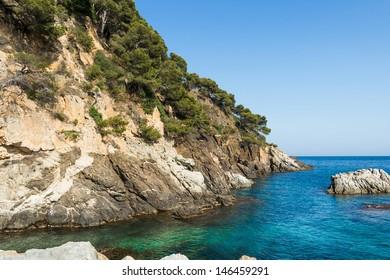 Costa Brava landscape from the Llafranc coast. Spain.